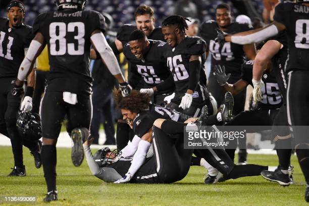 NickNovak of the Birmingham Iron celebrates with teammates after kicking a 44yard gamewinning field goal during the fourth quarter to defeat the San...