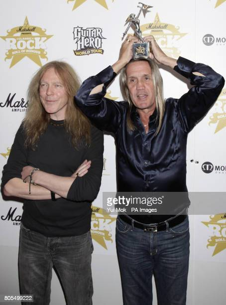 Nicko McBrain and Janick Gers from Iron Maiden who received the Band of the Year Award at the Classic Rock Roll Of Honour Awards at the Park Lane...