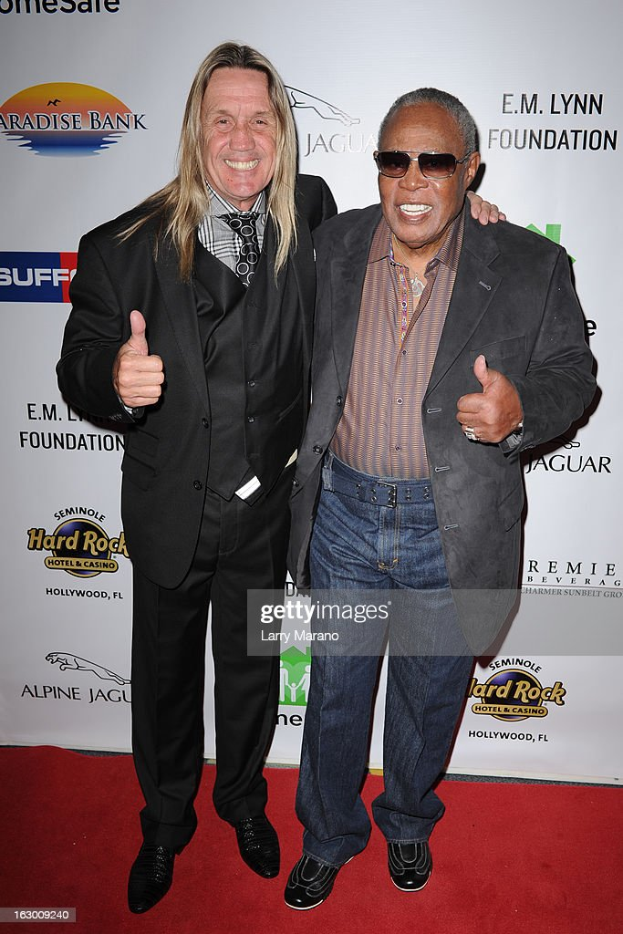 Nicko McBrain and Sam Moore attend Classic Rock And Roll Party to benefit HomeSafe at Seminole Hard Rock Hotel on March 2, 2013 in Hollywood, Florida.