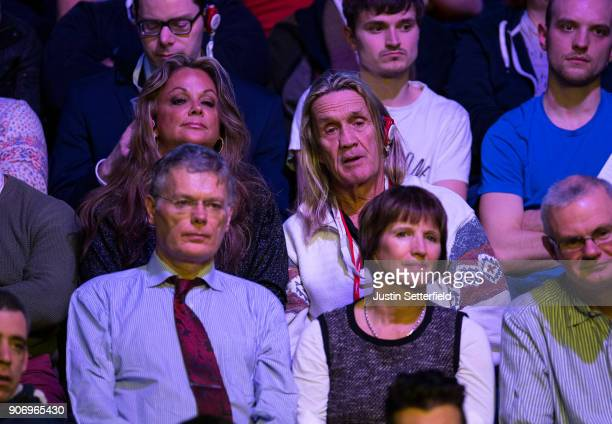 Nicko McBrain drummer for Iron Maiden and his wife Rebecca McBrain watch The Dafabet Masters on Day Five at Alexandra Palace on January 18 2018 in...