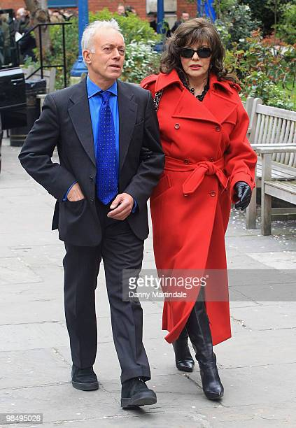 Nickolas Grace and Joan Collins and friend attend the funeral of Christopher Cazenove held at St Paul's Church in Covent Garden on April 16 2010 in...