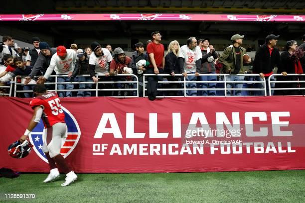 NickTemple of the San Antonio Commanders greets fans after the San Antonio Commanders defeated the San Diego Fleet 156 in an Alliance of American...