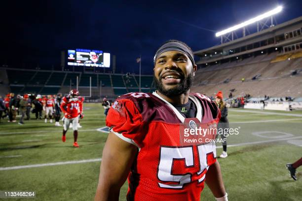 NickTemple of the San Antonio Commanders reacts after defeating the Birmingham Iron 12-11 in an Alliance of American Football game at Legion Field...