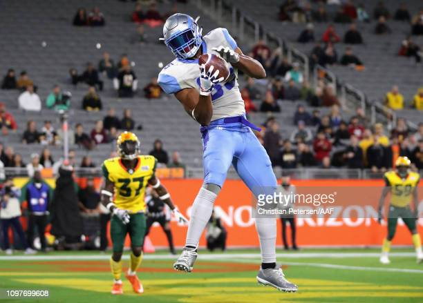 NickTruesdell of the Salt Lake Stallions catches a touchdown pass during the second half of the Alliance of American Football game against the...