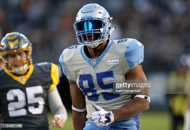 Nick Truesdell of the Salt Lake Stallions celebrates during the second half of the Alliance of American Football game against the San Diego Fleet at...