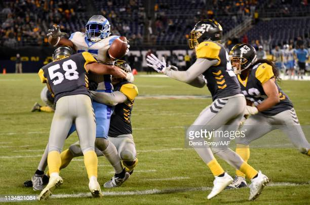 Nick Truesdell of the Salt Lake Stallions reaches the ball out for a touchdown during the fourth quarter of the Alliance of American Football game...