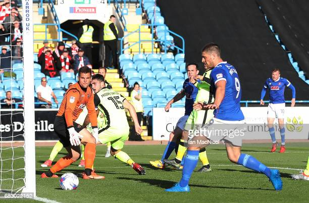 Nicky Adams of Carlisle United scores the Sky Bet League Two match between Carlise United and Exeter City at Brunton Park on May 14 2017 in Carlisle...