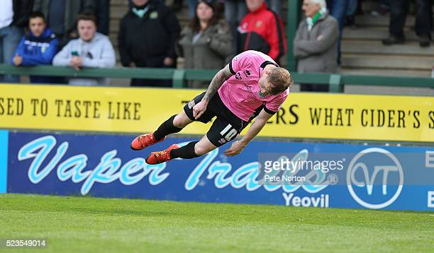 Nicky Adams of Northampton Town celebrates with a mock diving header after scoring his sides goal during the Sky Bet League Two match between Yeovil...
