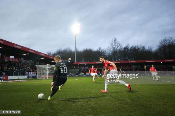 Nicky Adams of Northampton Town FC attempts a cross during the Sky Bet League 2 match between Salford City and Northampton Town at Moor Lane Salford...