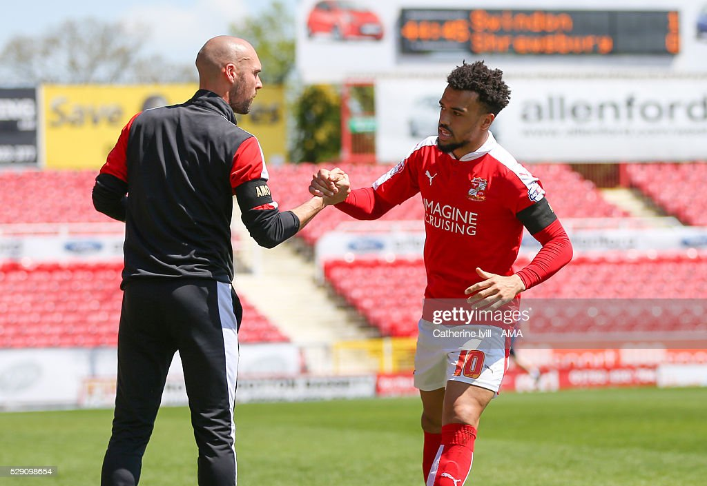 Nicky Ajose of Swindon Town celebrates after he scores to make it 1-0 with Luke Williams manager of Swindon Town during the Sky Bet League One match between Swindon Town and Shrewsbury Town at County Ground on May 8, 2016 in Swindon, England.