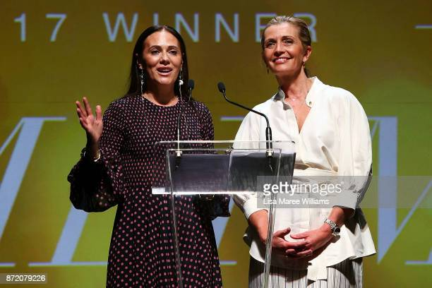 Nicky and Simone Zimmermann accept the 2017 Best Australian Womenswear Fashion Laureate Award on November 9 2017 in Sydney Australia