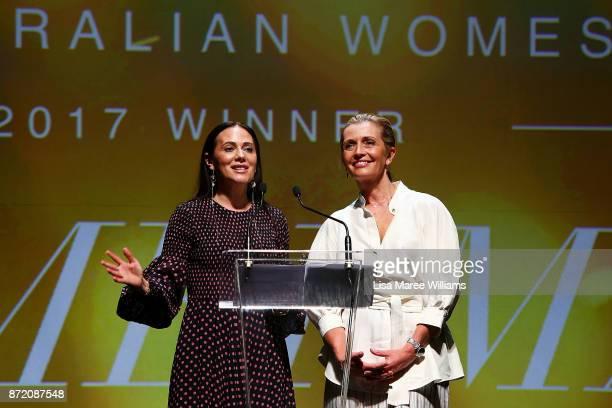 Nicky and Simone Zimmermann accept the 2017 Best Australian Womenswear Fashion Laureate Award on November 9 2017 in Sydney Australia