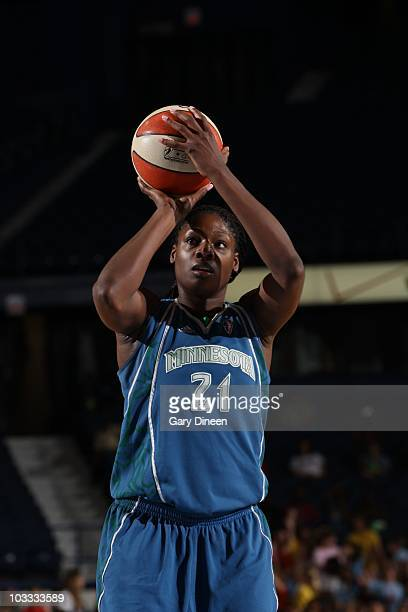 Nicky Anosike of the Minnesota Lynx aims during the WNBA game against the Chicago Sky on August 7 2010 at the AllState Arena in Rosemont Illinois...
