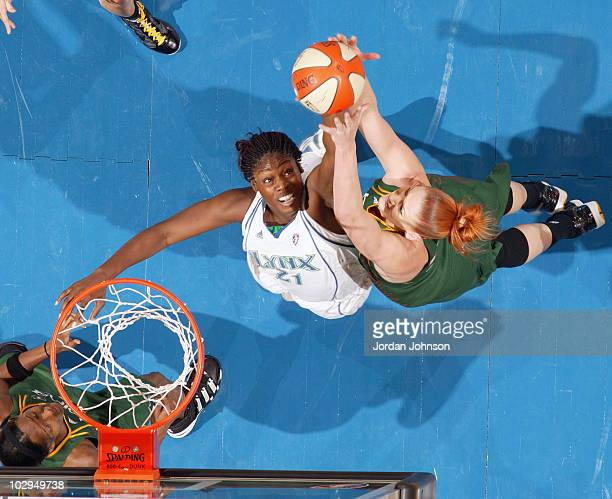 Nicky Anosike of the Minnesota Lynx battles for the rebound against Lauren Jackson of the Seattle Storm during the game on July 17 2010 at the Target...