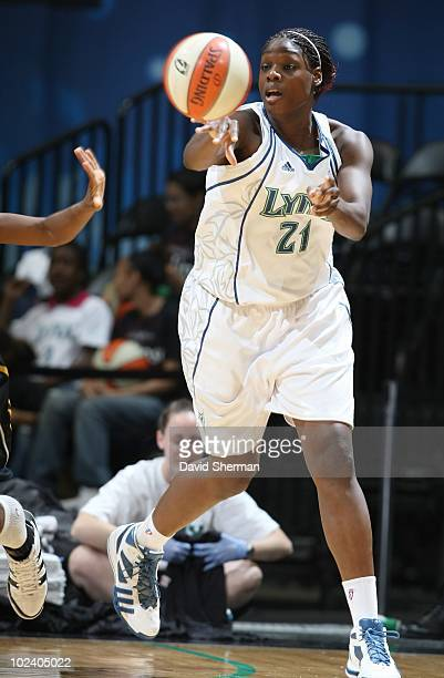 Nicky Anosike of the Minnesota Lynx looks to pass during a game against the Tulsa Shock on June 18 2010 at the Target Center in Minneapolis Minnesota...