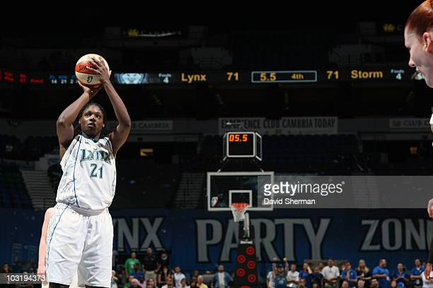Nicky Anosike of the Minnesota Lynx put up the game winning free throw against the Seattle Storm on August 1 2010 at the Target Center in Minneapolis...