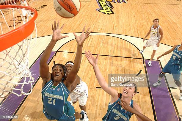 Nicky Anosike of the Minnesota Lynx rebounds against the Phoenix Mercury at US Airways Center September 3 2008 in Phoenix Arizona NOTE TO USER User...