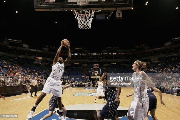 Nicky Anosike of the Minnesota Lynx rebounds the ball during the WNBA game against the Indiana Fever on September 9 2008 at Target Center in...