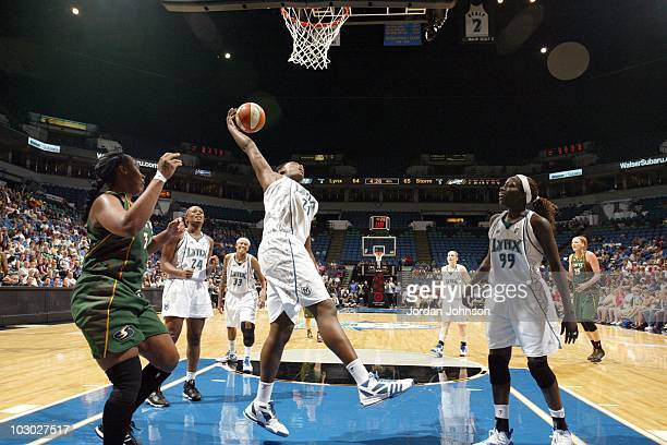 Nicky Anosike of the Minnesota Lynx shoots the ball against the Seattle Storm during the WNBA game at the Target Center on July 17 2010 in...