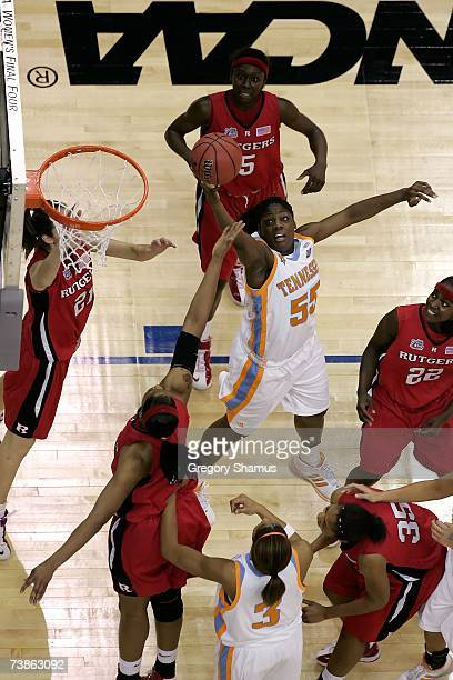 Nicky Anosike of the Tennessee Lady Volunteers raches for a rebound against the Rutgers Scarlet Knights during the 2007 NCAA Women's Basketball...