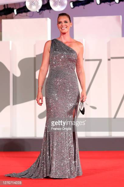 """Nicky Bentham walks the red carpet ahead of the movie """"The Duke"""" at the 77th Venice Film Festival at on September 04, 2020 in Venice, Italy."""