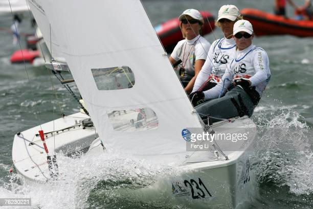 Nicky Bethwaite, Karen Gojnich, Angela Farrell from Australia complete in the Yngling Class during the Qingdao International Regatta on August 23,...