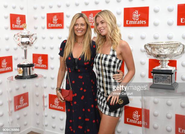 Nicky Brownless and daughter Lucy Brownless arrive ahead of the Emirates ladies brunch on day ten of the 2018 Australian Open at Melbourne Park on...