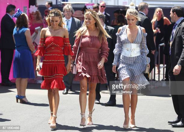Nicky Brownless and her daughters Lucy Brownless and Ruby Brownless pose on Oaks Day at Flemington Racecourse on November 9 2017 in Melbourne...