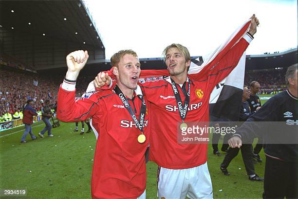 Nicky Butt and David Beckham of Manchester United celebrate after the FA Carling Premiership match between Manchester United v Tottenham Hotspur at...