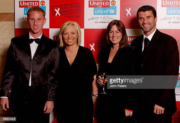 Nicky Butt his partner Shelley Theresa and Roy Keane of Manchester United pose before the Annual United For Unicef charity dinner The Midland Hotel...