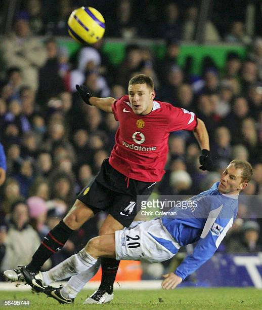 Nicky Butt of Birmingham City clashes with Alan Smith of Manchester United during the Barclays Premiership match between Birmingham City and...