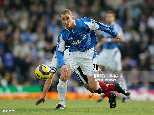 Nicky Butt of Birmingham runs off the challenge of Steed Malbranque of Fulham during the Barclays Premiership match between Birmingham City and...