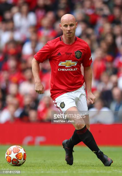 Nicky Butt of Manchester United '99 Legends in action during the Manchester United '99 Legends and FC Bayern Legends match at Old Trafford on May 26...