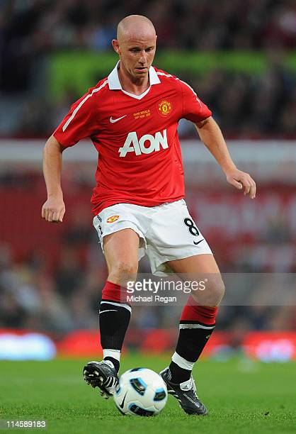 Nicky Butt of Manchester United in action during the Gary Neville Testimonial Match between Manchester United and Juventus at Old Trafford on May 24...