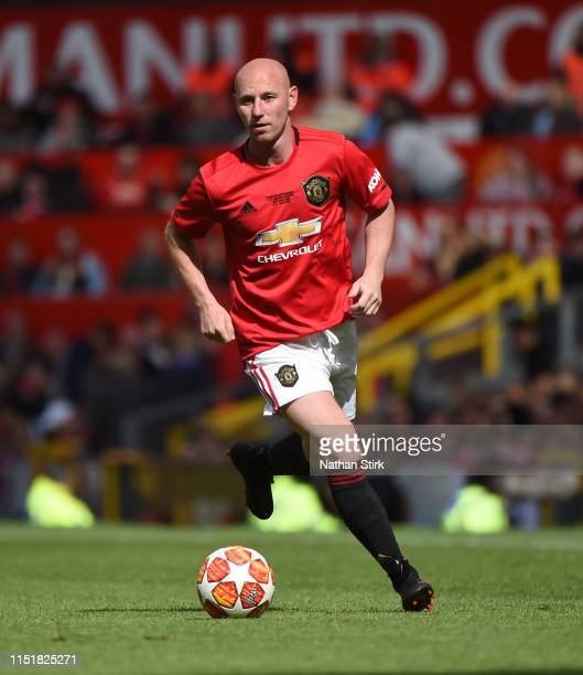 Nicky Butt of Manchester United in action during the Manchester United '99 Legends v FC Bayern Legends at Old Trafford on May 26 2019 in Manchester...