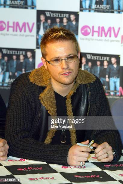 Nicky Byrne from Westlife during Westlife Signing Copies Of Their New Single Mandy at HMV Trocadero Piccadilly Circus in London Great Britain