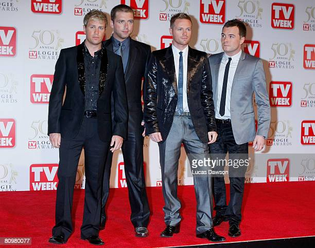 Nicky Byrne Kian Egan Mark Feehily and Shane Filan of the band Westlife arrive on the red carpet at the 50th Annual TV Week Logie Awards at the Crown...