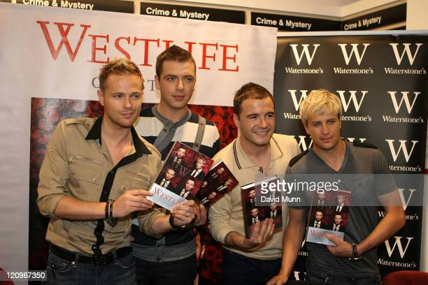 Nicky Byrne Mark Feehily Shane Filan and Kian Egan at the booksigning Signs Westlife The Autobiography at Waterstone's on June 18 2008 in Liverpool...