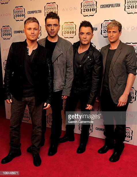 Nicky Byrne, Mark Feehily Shane Filan and Kian Egan of Westlife arrive for the 'Cosmopolitan Ultimate Women Of The Year Awards 2010' at Banqueting...