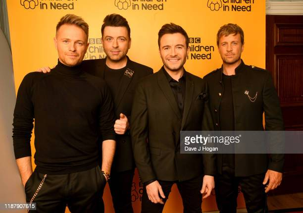 Nicky Byrne, Mark Feehily, Shane Filan and Kian Egan of Westlife backstage at BBC Children in Need's 2019 Appeal night at Elstree Studios on November...