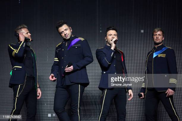Nicky Byrne, Markus Feehily, Shane Filan and Kian Egan of Westlife at The O2 Arena on June 13, 2019 in London, England.