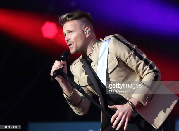 Nicky Byrne of an Irish Pop vocal group performs live on stage at the BBC Radio 2 Live in Hyde Park, London.