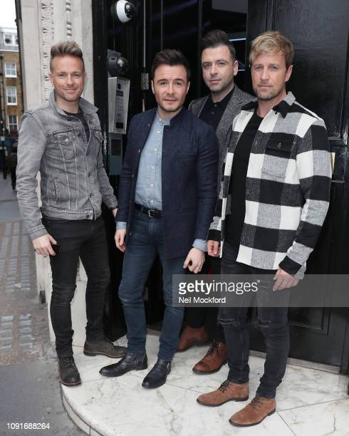 Nicky Byrne, Shane Filan, Markus Feehily and Kian Egan from Westlife seen arriving at Magic Radio to promote their new Greatest Hits album on January...