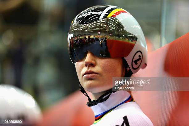 Nicky Degrendele of Belgium prepares to compete in the second round of the Women's Keirin during the track cycling on Day Six of the European...
