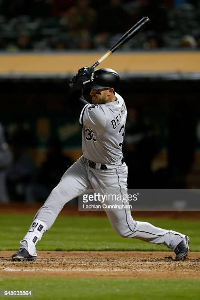 Nicky Delmonico of the Chicago White Sox at bat in the fourth inning against the Oakland Athletics at Oakland Alameda Coliseum on April 16 2018 in...