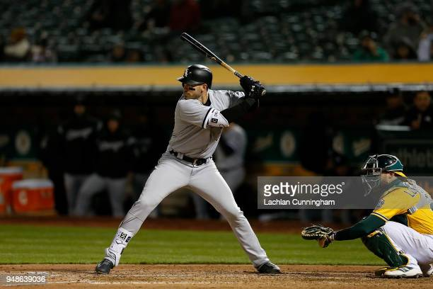 Nicky Delmonico of the Chicago White Sox at bat in the seventh inning against the Oakland Athletics at Oakland Alameda Coliseum on April 16 2018 in...