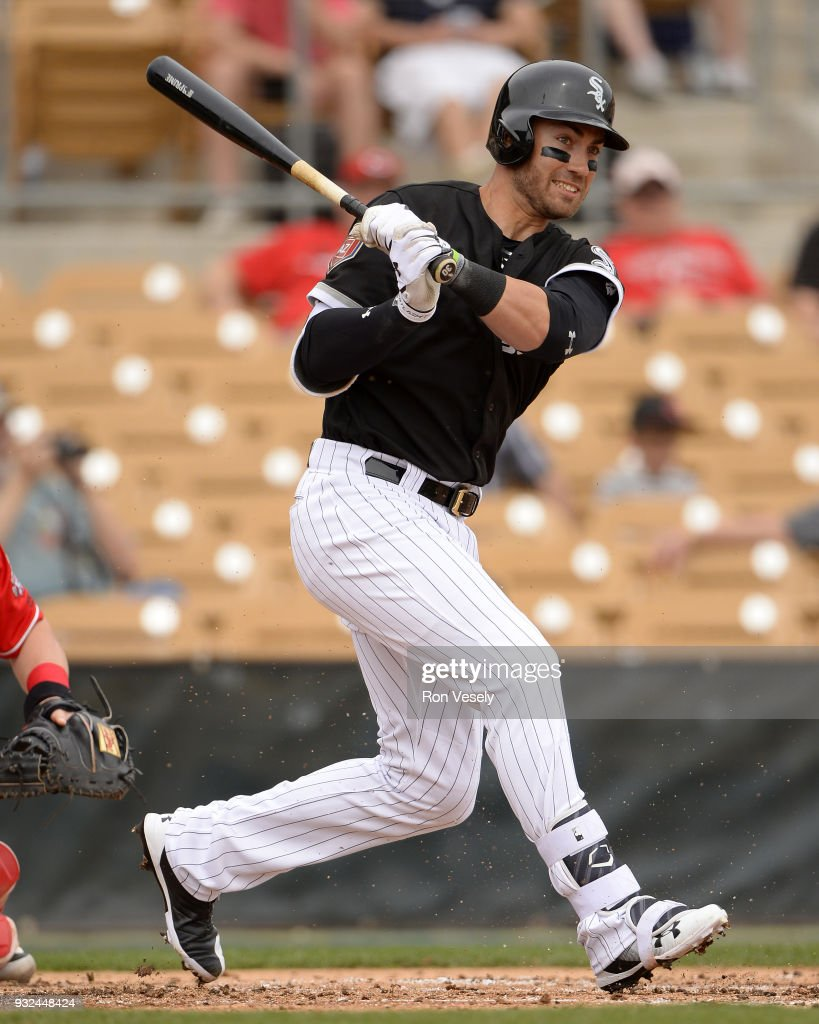 Nicky Delmonico #30 of the Chicago White Sox bats against the Cincinnati Reds on March 7, 2018 at Camelback Ranch in Glendale Arizona. (Photo by Ron Vesely/MLB Photos via Getty Images) Nicky Delmonico