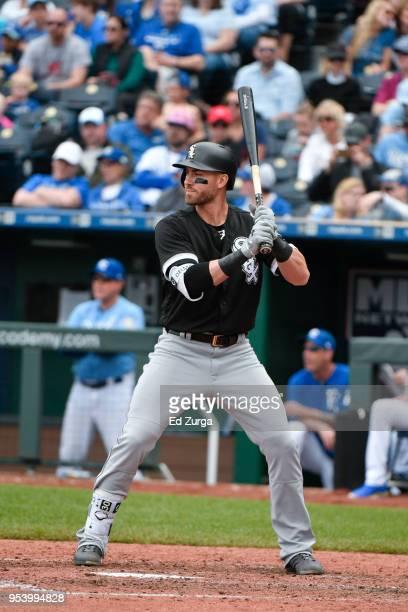 Nicky Delmonico of the Chicago White Sox bats against the Kansas City Royals at Kauffman Stadium on April 29 2018 in Kansas City Missouri Nicky...