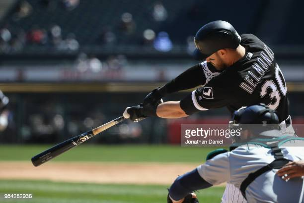 Nicky Delmonico of the Chicago White Sox bats against the Seattle Mariners at Guaranteed Rate Field on April 25 2018 in Chicago Illinois The Mariners...