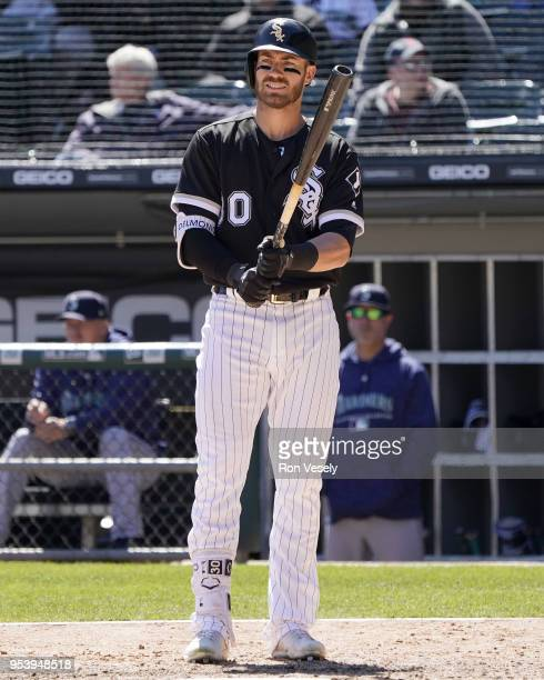 Nicky Delmonico of the Chicago White Sox bats against the Seattle Mariners on April 25 2018 at Guaranteed Rate Field in Chicago Illinois Nicky...